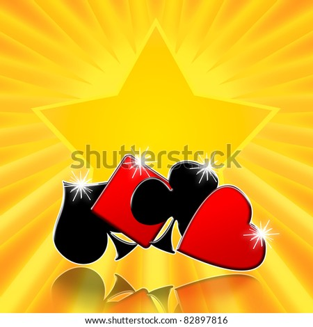 Playing cards suits on lucky golden star casino background - stock photo