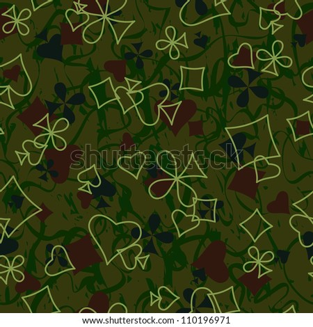 Playing cards symbols seamless pattern - stock photo