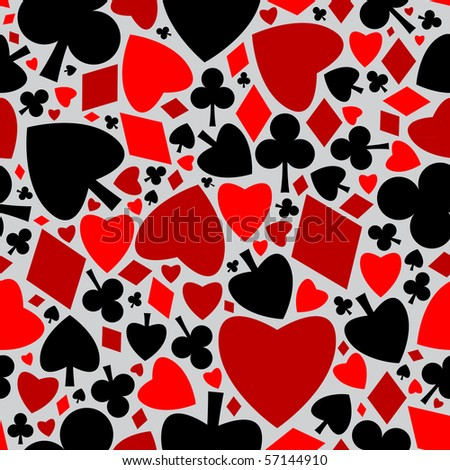 Playing cards symbols seamless pattern (raster version) - stock photo