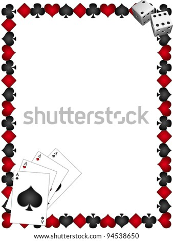 Playing Cards with border - stock photo