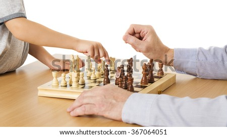 Playing Chess, Child and Senior Hands, Kid Boy Moving Pawn Piece, Man Thinking Chessboard - stock photo
