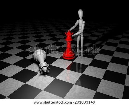 playing chess game concept with 3d figurine moving red chess queen - stock photo