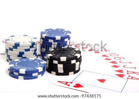 playing chips and poker card on white background