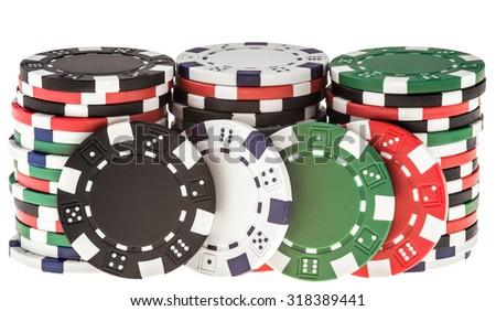 Playing chips isolated on a white background