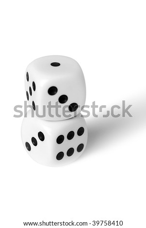 Playing cubes of white colour on a white background - stock photo