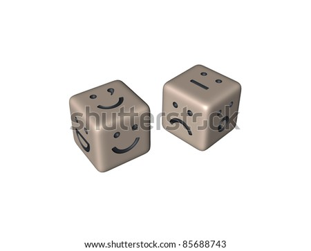 Playing dice with the smilie. Symbolic representation of action for success without calculation. - stock photo