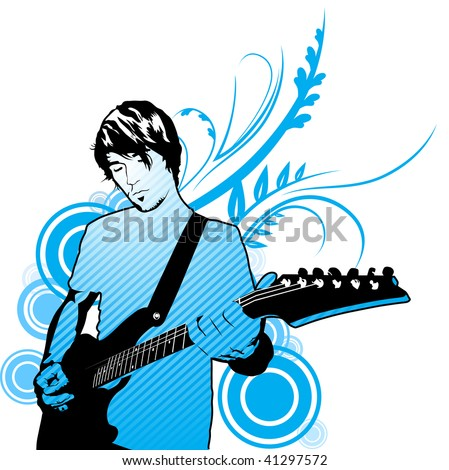 playing electric guitar illustration - stock photo