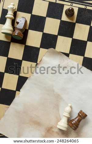 Playing field and the figures for the game of chess. - stock photo