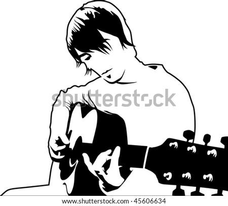 playing guitar illustration - stock photo