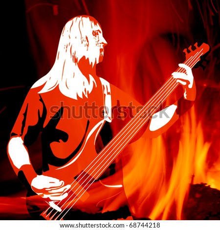 playing guitarist silhouette on red burning background - stock photo