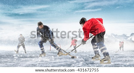Playing hockey game