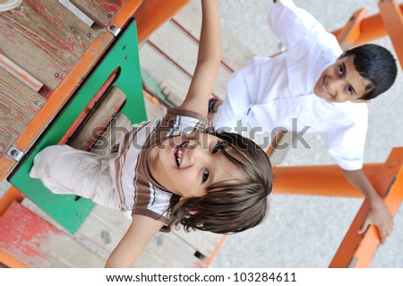Playing in park together - stock photo