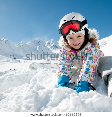 Playing in snow - stock photo