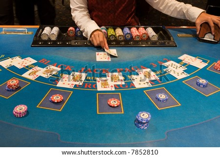 Playing in the blackjack table - Casino - stock photo