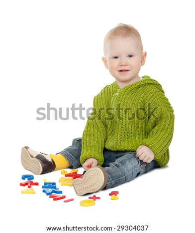playing isolated baby boy on white background - stock photo