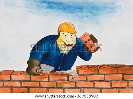 Playing lays bricks. Caricature - stock photo
