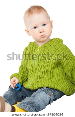 playing little boy portrait on white background - stock photo