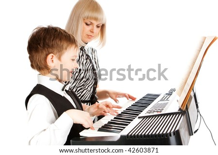Playing music in black and white colors - stock photo