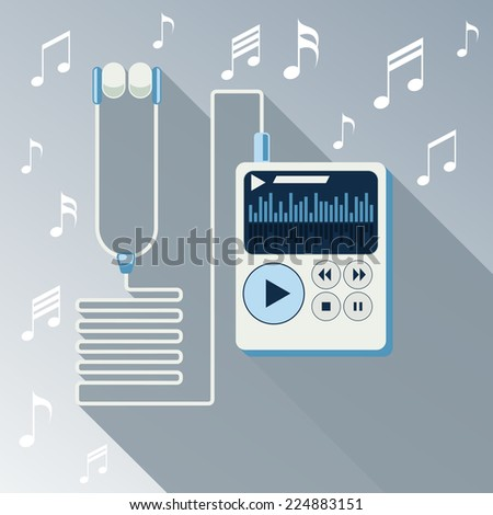 Playing music in white Mp3 player long shadow on background with notes flat design cartoon style. Touchphone with connected headphones. Raster version - stock photo
