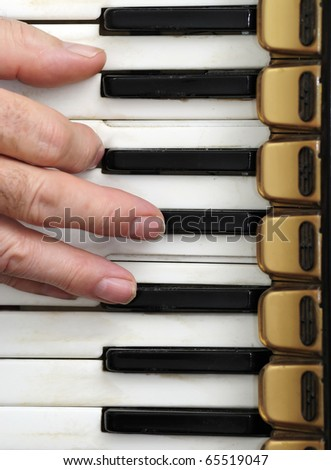 Playing old accordion - stock photo