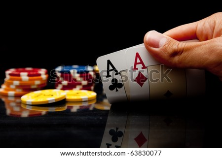Playing poker - stock photo