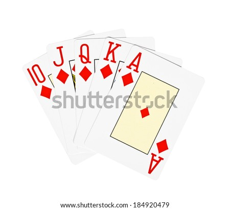 playing poker cards isolated on white background - stock photo