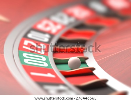 Playing roulette in the casino. Depth of field in the ball. - stock photo