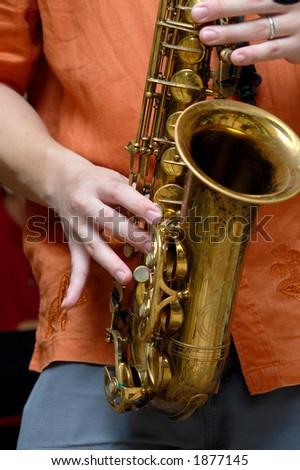 playing saxophone - stock photo