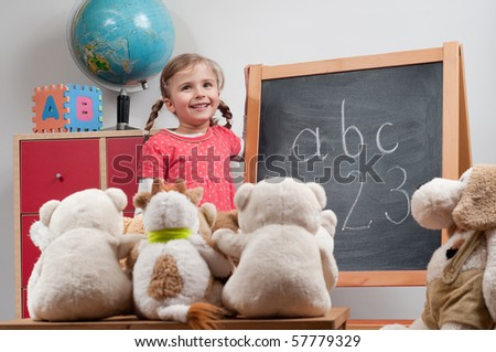 Playing school (no-name teddy bears)