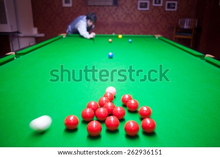 playing snooker - stock photo