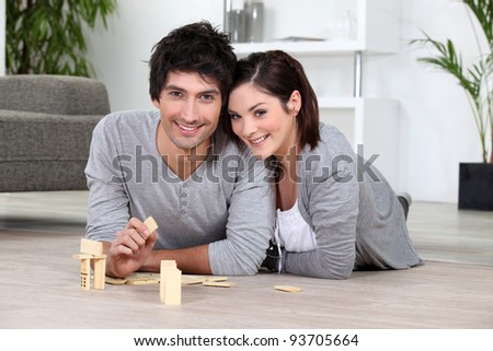 Playing the dominos - stock photo