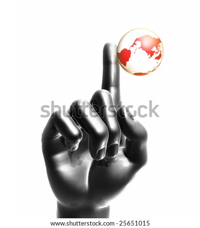 Playing the world on finger tip - stock photo
