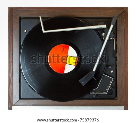 playing turntable on top view - stock photo