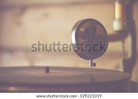 playing vintage music  - stock photo