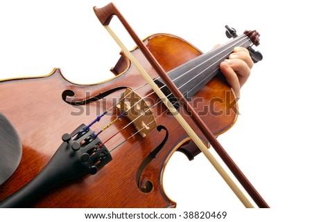 Playing Violin on white backround - stock photo