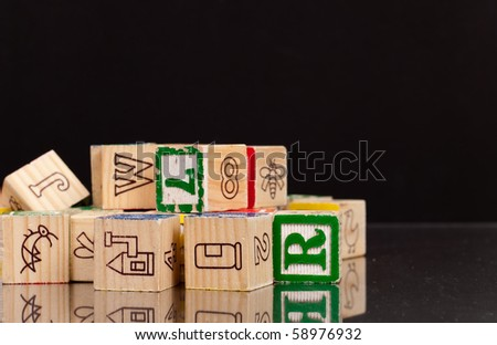 Playing With Toy Blocks - stock photo