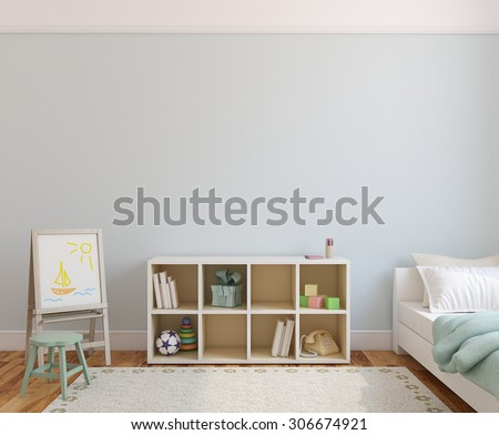 Playroom interior. 3d render. - stock photo