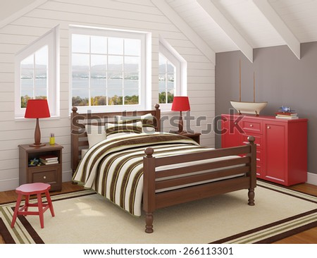 Playroom interior. 3d render. Photo behind the window was made by me. - stock photo
