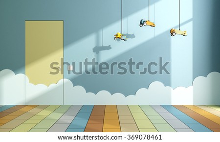 Playroom with toy airplanes hanging from the ceiling and clouds on the wall - 3D Rendering - stock photo