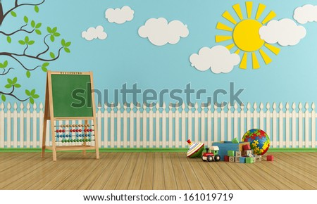 Playroom with wall decor, toys and blackboard with abacus - rendering - stock photo