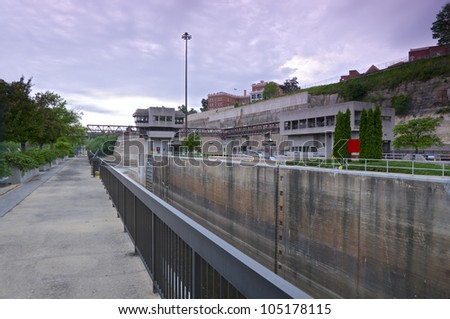 Plaza and visitors center of lock and dam one on Mississippi River near Ford Parkway in Minneapolis Minnesota - stock photo