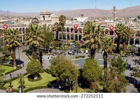 Plaza de Armas in Arequipa, Peru, South America - stock photo