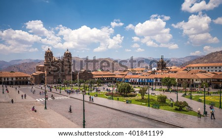 Plaza de Armas in historic center of Cusco, Peru - stock photo
