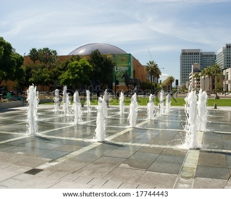 Plaza de Cesar Chavez is a small park in Downtown San Jose, California, USA, named after Cesar Chavez in 1993. - stock photo