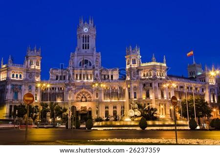 Plaza de Cibeles at night, Madrid, Spain - stock photo