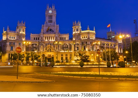 Plaza de Cibeles at night, Madrid, Spain - stock photo