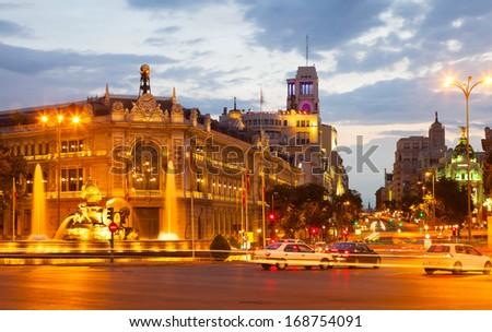 Plaza de Cibeles in summer evening. Madrid, Spain - stock photo
