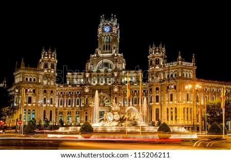 Plaza de Cibeles, Madrid, Spain at night - stock photo