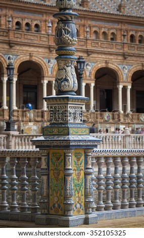 Plaza de Espana, hand painted tiles decoration details - stock photo