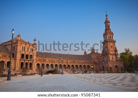 Plaza de Espana in Sevilla at sunset, Spain. Built in 1928 for the Ibero-American Exposition of 1929. It is a landmark example of the Renaissance Revival style in Spanish architecture.